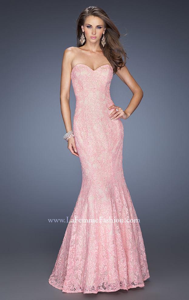 Elegant Strapless Mermaid Lace Gown by La Femme [Mermaid Dress 20047 by La Femme] - $195.00 : Discover Unique Dresses Online at PromUnique.com