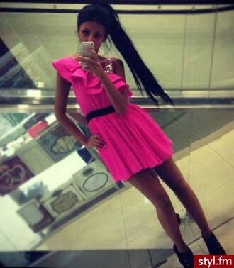 dress ruffle dress pink dress ruffle fishtail