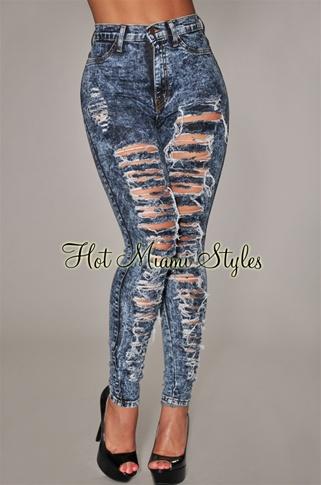 Dark Blue Acid Wash Denim Destroyed High-Waist Skinny Jeans