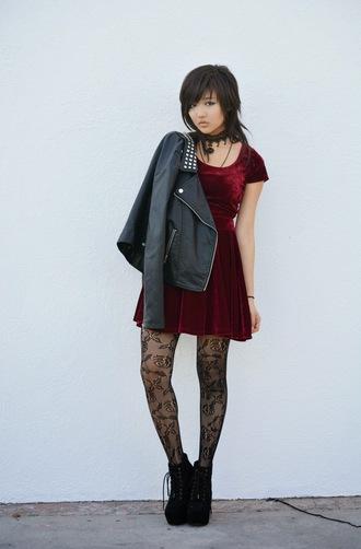 utopia underground blogger tights velvet red dress emo perfecto