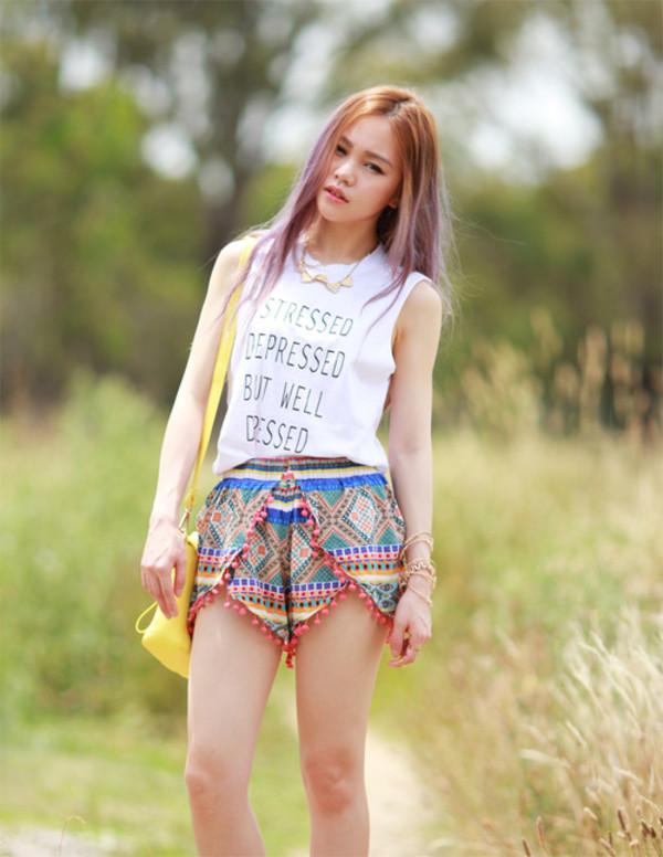 chloe ting t-shirt shorts shoes bag jewels