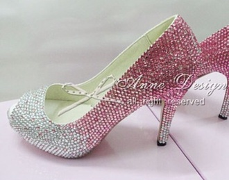 pink crystal 2 color high heels shoes high heels very high pink high heels pink shoes white pink and white white shoes heels white crystals colorful glitter shoes