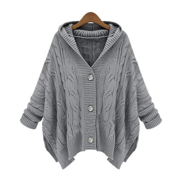 coat sweater knit loose hood