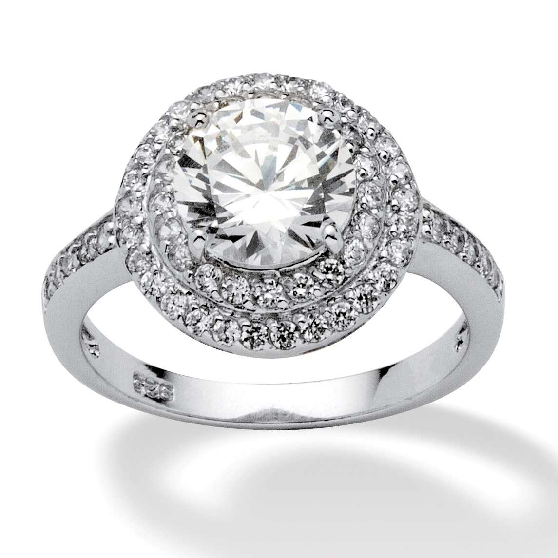 Platinum Over Sterling Silver Round DiamonUltra Trade Cubic Zirconia Ring | eBay