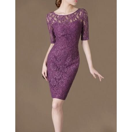 Purple Lace Elegant Noble Summer OL Slim Women Fashion Dress lml7029A - ott-123 - Global Online Shopping for Dresses