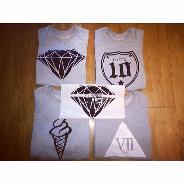 sweater sweatshirt print diamonds shield number trap stars ice cream piramid twinkle twinkleq