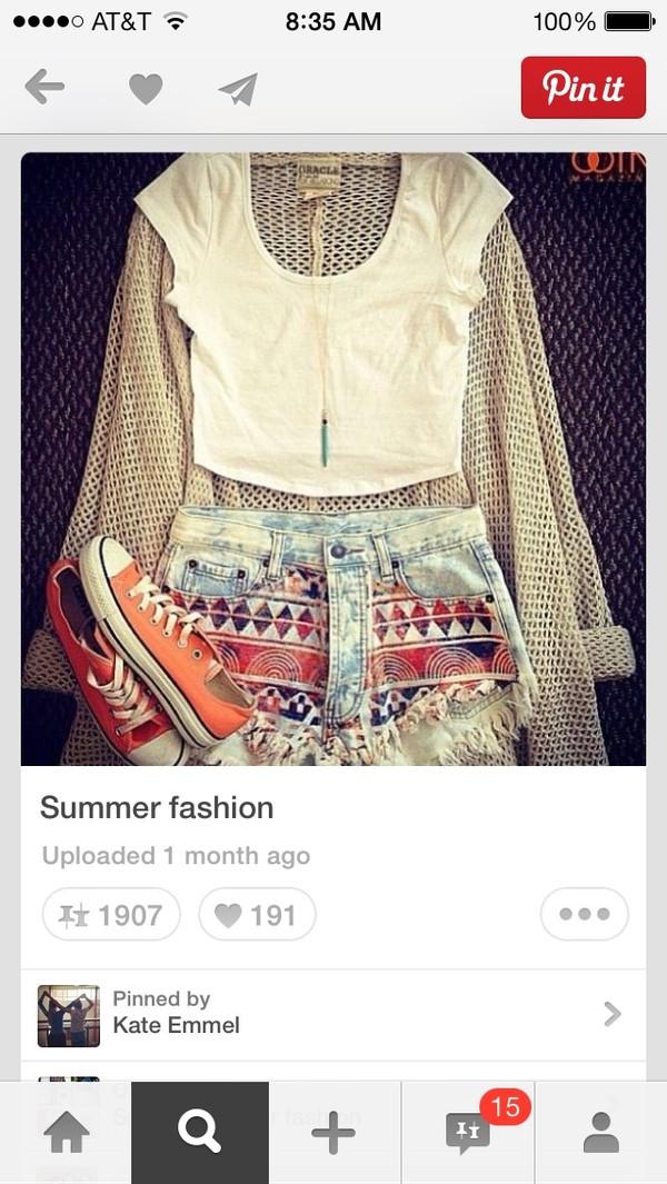 shirt crop tops shorts vibrant tropical