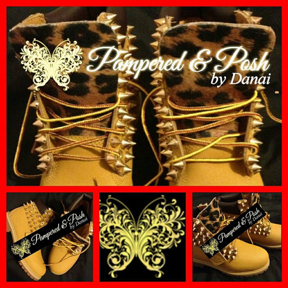 Women's Spiked TImberlands by pnpbydanai on Etsy