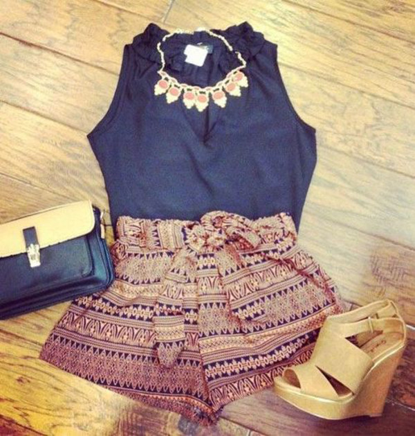 shorts tribal pattern aztec style necklace shoes t-shirt jewels blouse where to get these shorts? where can i get these shoes flowy shorts aztec brown blue print colorful outfit pretty pattern bow orange shirt printed shorts clothes summer outfits High waisted shorts whole outfit.. necklace jewelry blue shirt wedges pants