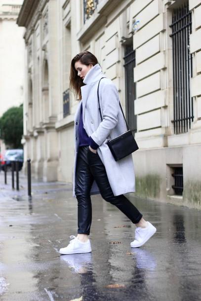 moderosa blogger coat sweater pants shoes bag white sneakers winter coat leather pants