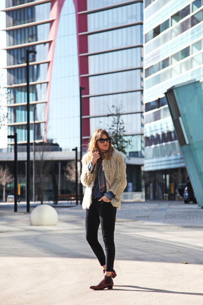 my daily style blogger coat pants scarf shoes bag
