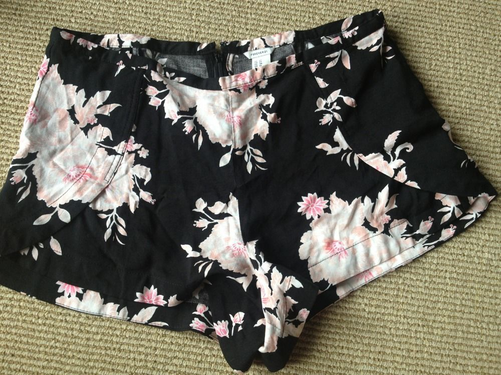 High Waisted Pink and Black Floral Shorts Women's Size 27 | eBay