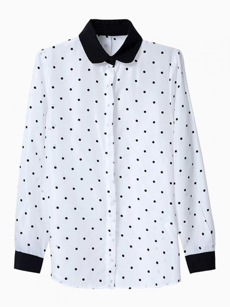 Polka Dot Shirt With Black Collar | Choies