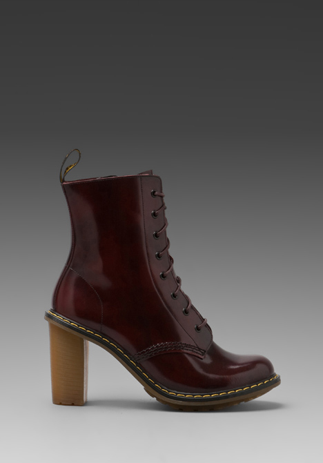 DR. MARTENS Sadie 8-Tie Boot PKB in Burgundy at Revolve Clothing - Free Shipping!
