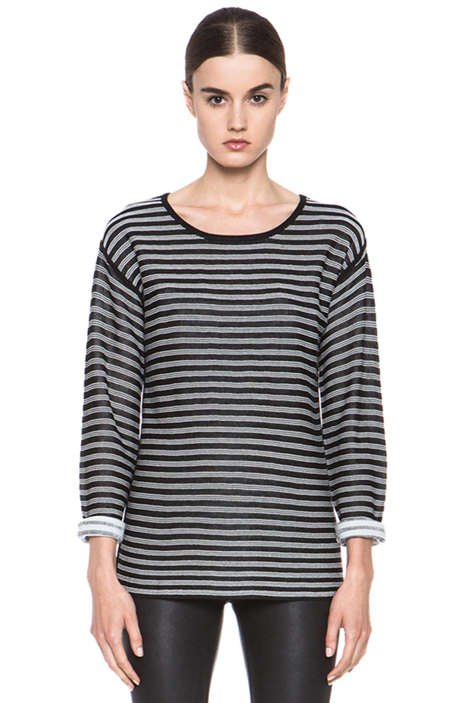 T by Alexander Wang|Stripe Knit Top in Black & White