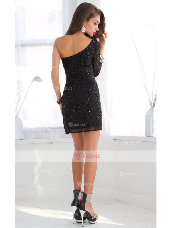 Sheath/Column One-Shoulder  Short/Mini Tulle Long Sleeves Little Black Dresses