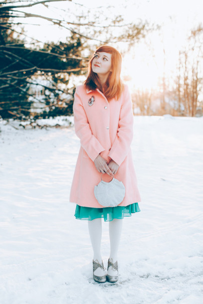 the clothes blogger chiffon pink coat silver shoes