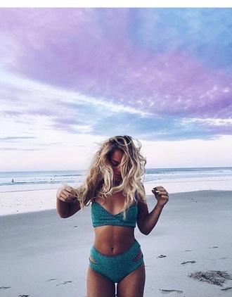 swimwear swimwear two piece high waisted high waisted bikini bikini blonde hair cut-out swimwear sexy bikini please help me find it need