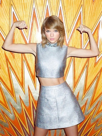 top skirt taylor swift silver metallic crop tops glitter party