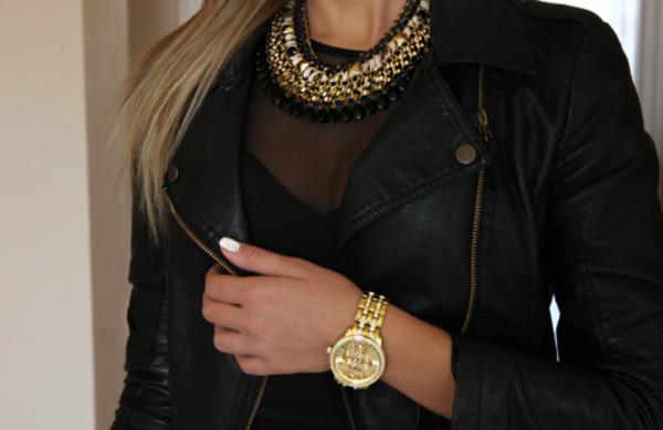 jewels necklace jacket jewelry statement necklace statement gold black leather jacket black top