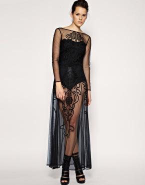 ASOS | ASOS BLACK Cornelli Detail Mesh Maxi Dress at ASOS