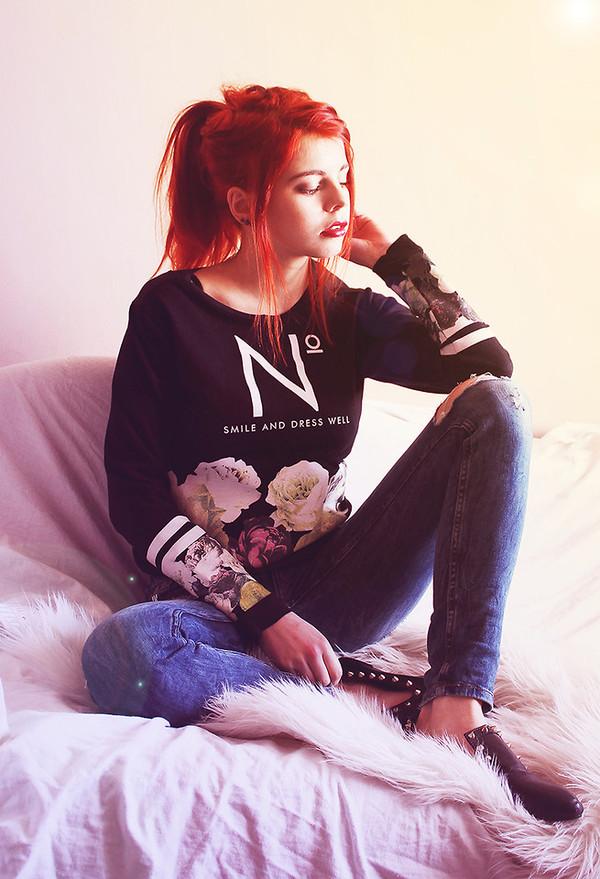 shirt clothes sweatshirt sweater floral top fashion