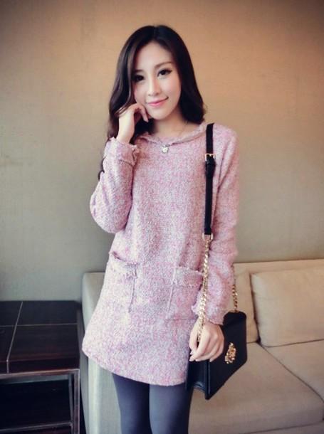 dress fashion style pink dress long sleeve dress