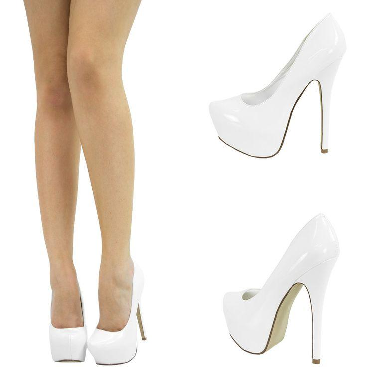 Pure white almond toe high heel hidden platform stiletto womens pump …