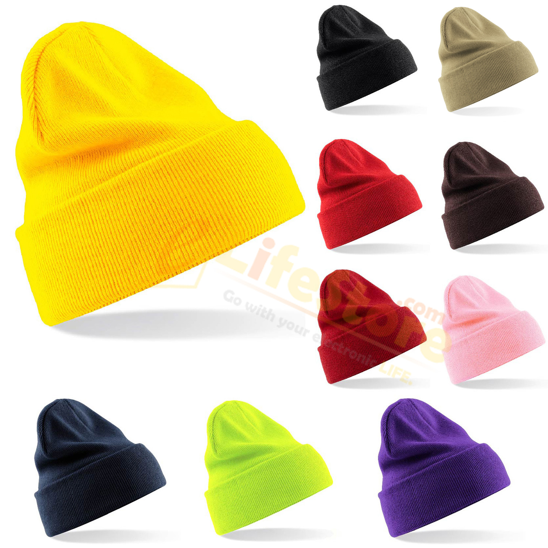 Unisex Men Women Multicolor Warm Cuff Plain Knit Ski Long Beanie Skull Hat Cap | eBay