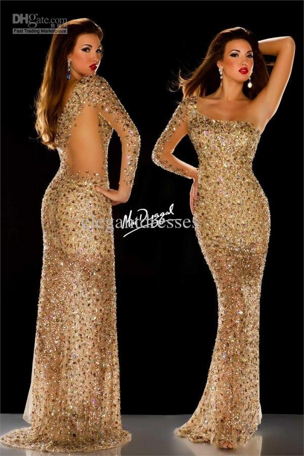 dress mc duggal sequin prom dress gold sexy red carpet rhinestones dress