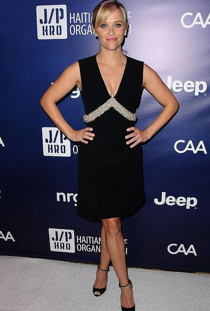 embellished dress reese witherspoon balenciaga pumps louboutin little black dress