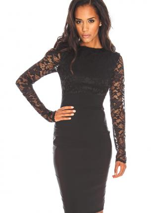 Black Party Dress - Lace and Bengaline Bodycon Dress | UsTrendy