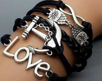 jewels black bracelets owl