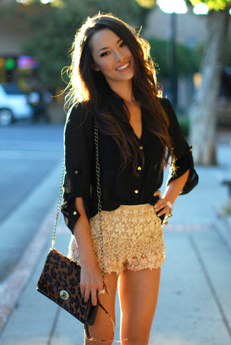 hapa time shorts t-shirt jewels bag shoes sunglasses blouse leopard print black clothes gold sliver slip on shoes crochet shirt black shirt sheer blouse button up cute shirt v neck lace beautiful girl flowers summer sassy cute top funny badass amazing flawless flowered shorts lace shorts summer shorts black top black blouse silk nude mini shorts
