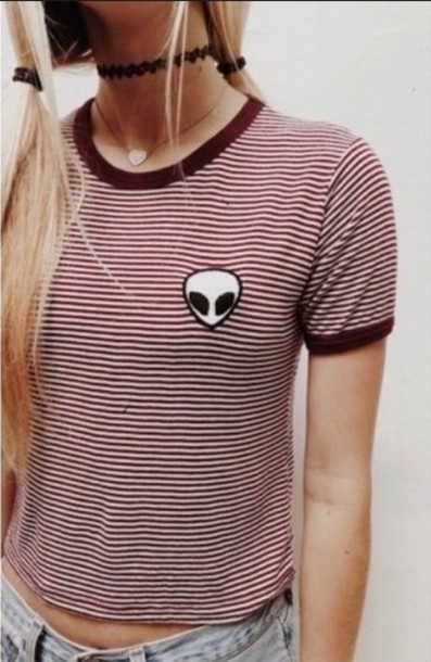 t-shirt brandy melville alien patch maroon and white tee jewels