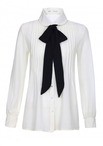 Simplicity Pleated Necktie Blouse - Happiness Boutique