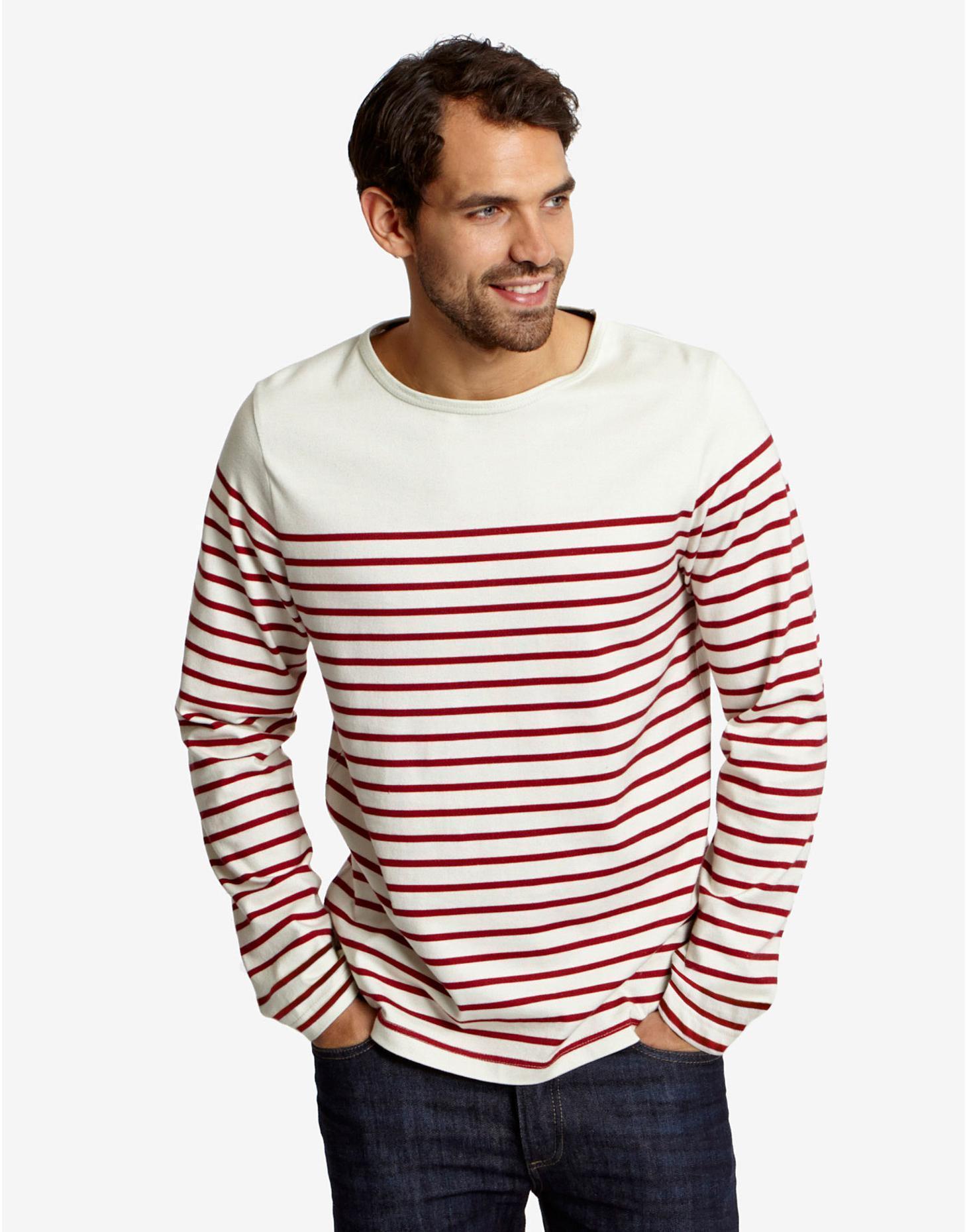 Red Breton Mens Long Sleeve Stripe Tshirt  | Joules US