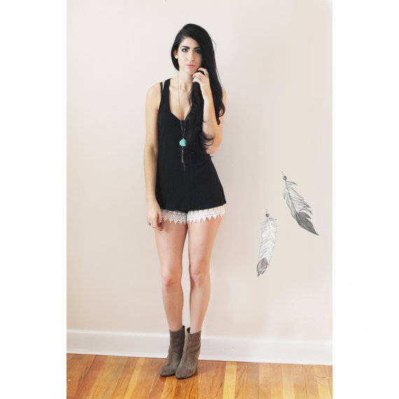 Vintage Lace Collection Black Shorts With Ivory by VintageShopLuna