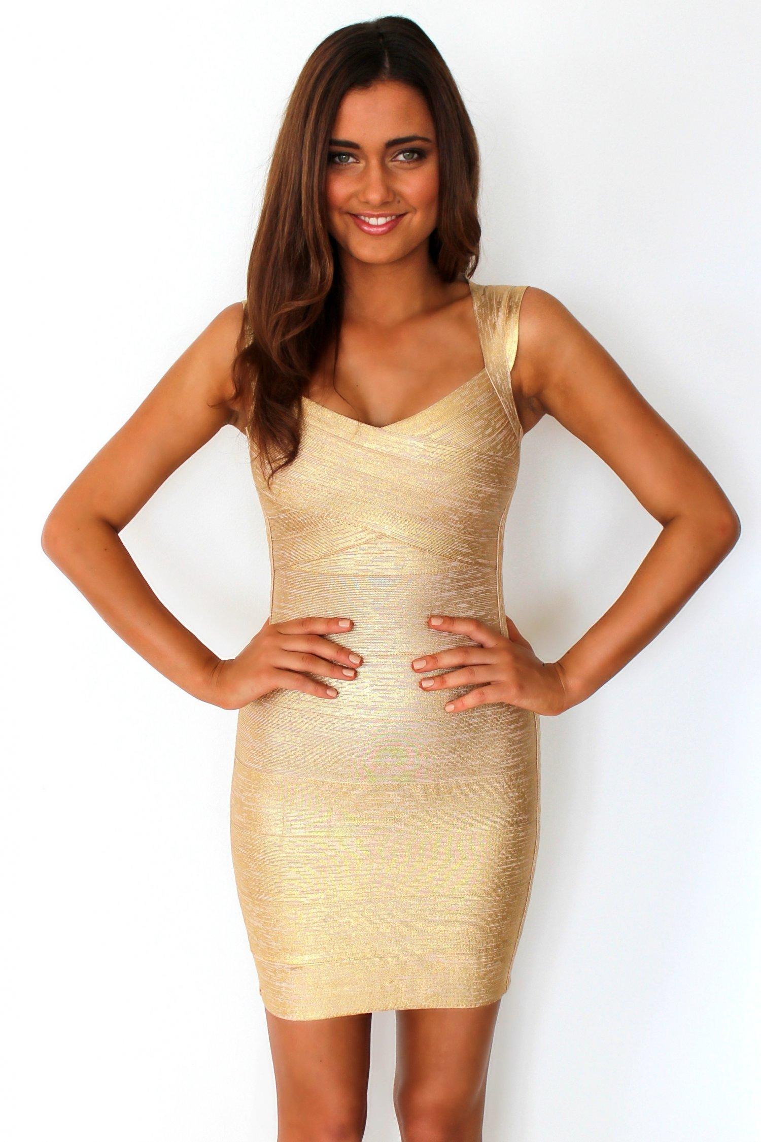 Gold Sexy Dress - Cap-Sleeve Gold Bandage Dress | UsTrendy