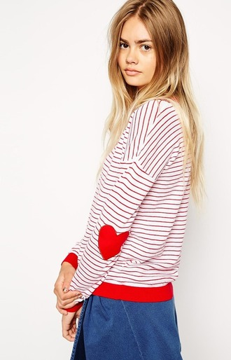 sweater elbow patches heart striped sweater valentines day galentines day heart sweater