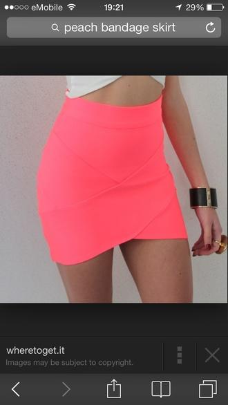 skirt bandage neon pink mini skirt tight