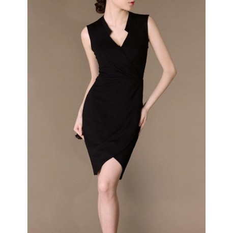 Black Elegant Noble Summer OL Slim V-neck Women Fashion Dress lml7037 - ott-123 - Global Online Shopping for Dresses