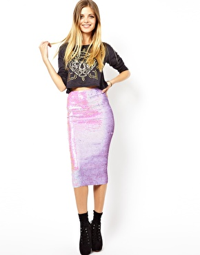 ASOS | ASOS Pencil Skirt in Pearlescent Sequins at ASOS