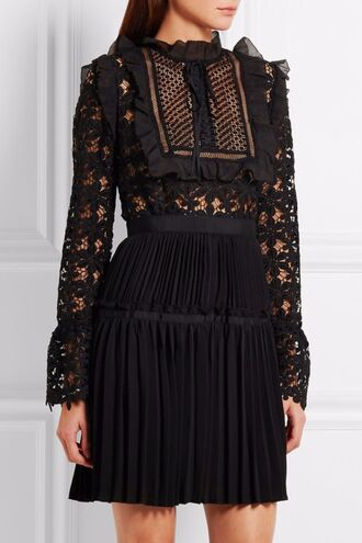 dress black dress lace dress pleats ruffle ruffle dress pleated dress self portrait long sleeve dress black lace dress