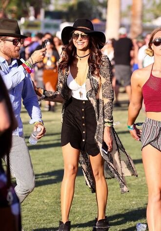 skirt top nina dobrev festival coachella music festival ankle boots hat cardigan jewels jewelry boho boho chic boho jewelry bohemian choker necklace black choker necklace kimono
