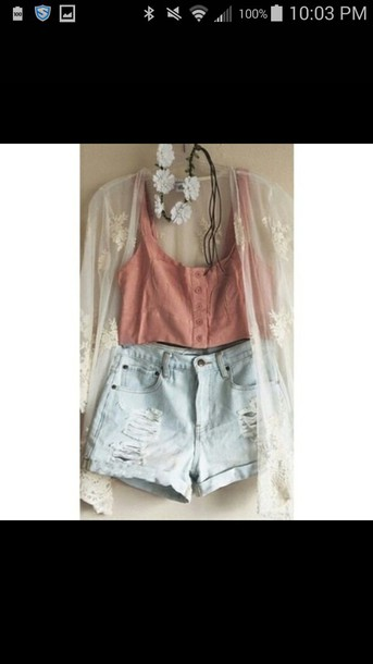 tank top lace cardigan shorts flowers