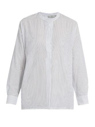 shirt fashion clothes vince stripes gathered-back cotton shirt