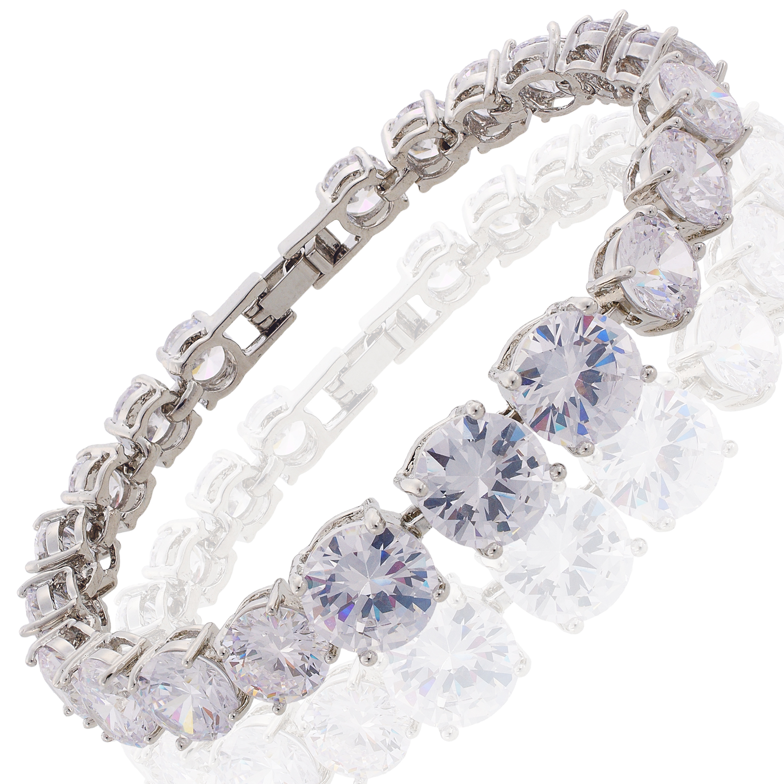 New Fashion Lady Gift 18 Carat Gold Plated Birthstone Tennis Bangle Bracelet   eBay