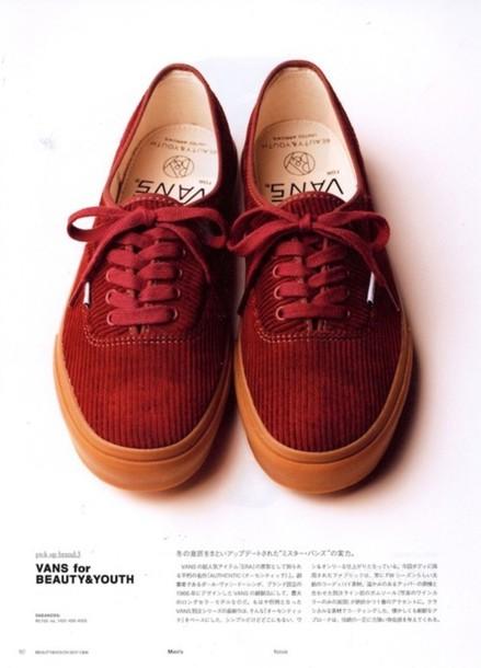 vans red shoes sneakers corduroy