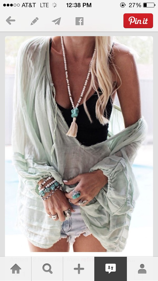 style light cover up mint necklace see through one shoulder boho chic